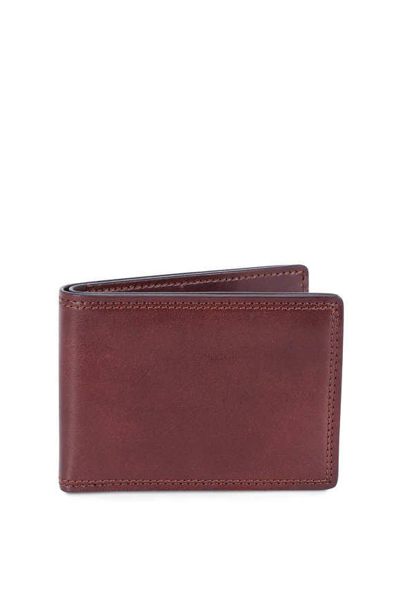 Bosca Dark Brown Leather Small Bi-Fold Wallet
