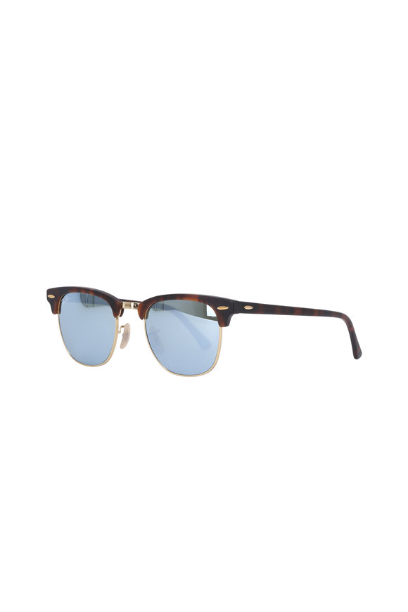 Ray Ban Clubmaster Silver Mirror Sunglasses