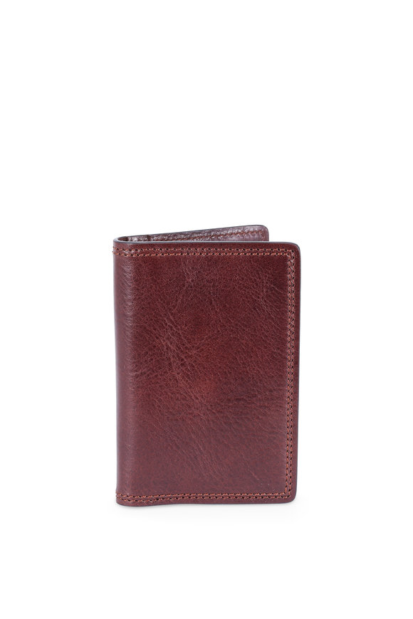 Bosca Dark Brown Italian Leather Calling Card Case