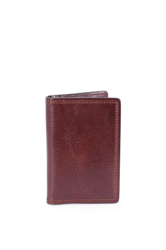 Bosca Dark Brown Italian Leather Calling Card Case