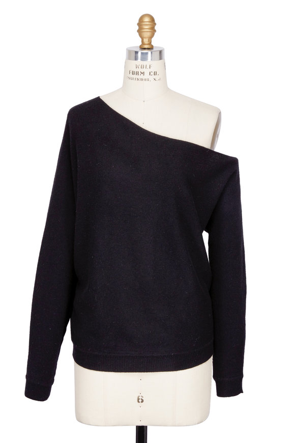 Minnie Rosie Black One Shoulder Cashmere Sweater