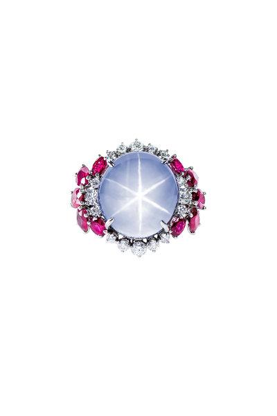 Oscar Heyman - Platinum Star Sapphire, Ruby & Diamond Ring
