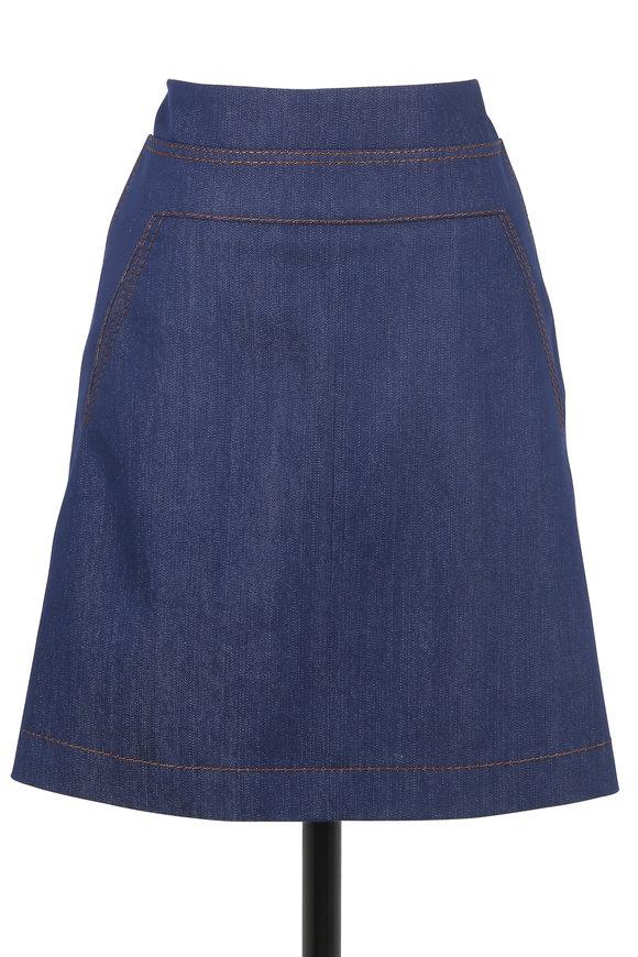 Akris Punto Denim A-Line Skirt