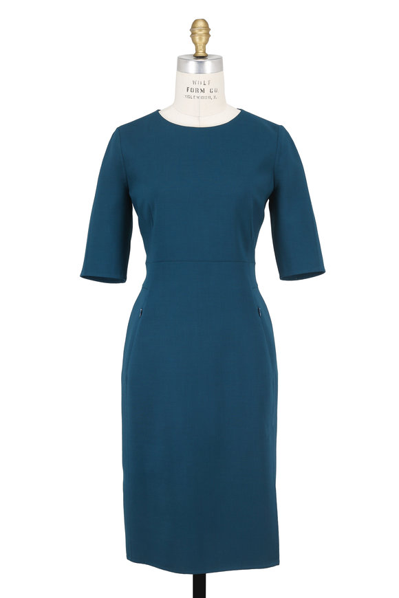 Akris Seabiscuit Stretch Wool Elbow Sleeve Dress