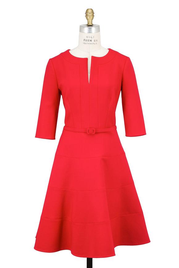 Oscar de la Renta Cherry Red Elbow Sleeve Seamed Dress