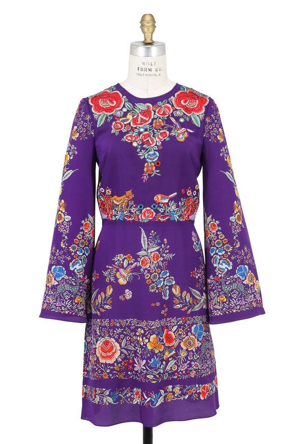 Roberto Cavalli Purple Enchanted Garden Silk Dress