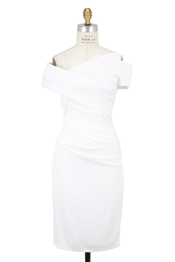 Talbot Runhof White One Shoulder Detail Dress
