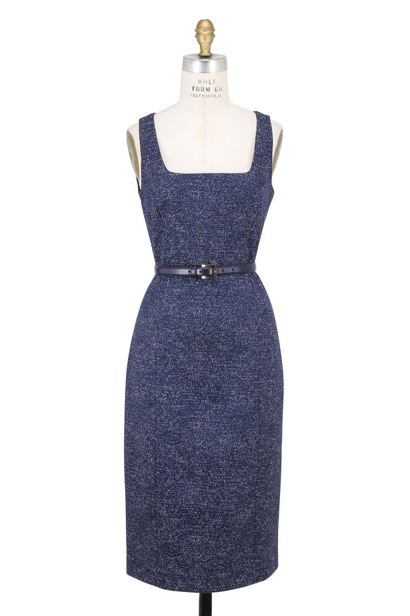 Michael Kors Collection Navy & White Tweed Sleeveless Belted Dress