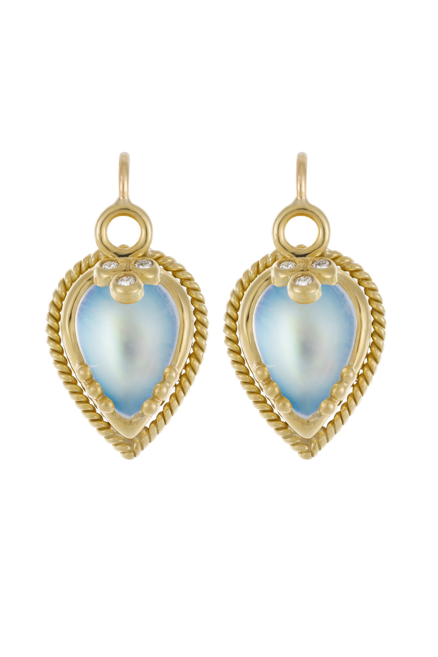 Gold Blue Moonstone Chinese Bead Earrings