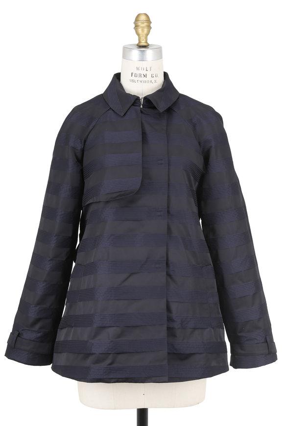 Armani Collezioni Navy Blue Tech Striped Jacket