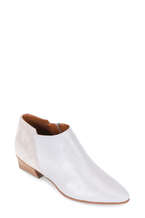 Aquatalia Fonda Gray Leather & Suede Bootie, 40mm