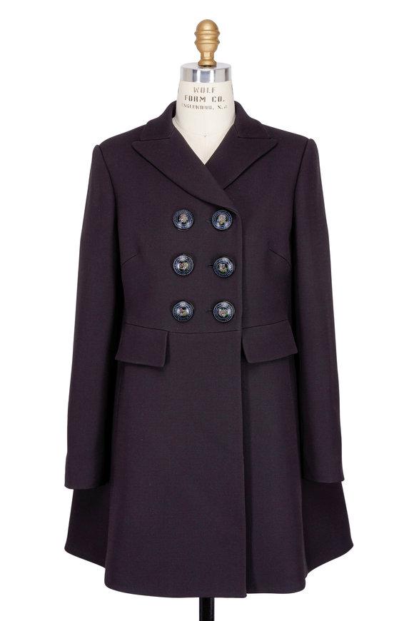 Alexander McQueen Black Wool & Silk Cape Coat