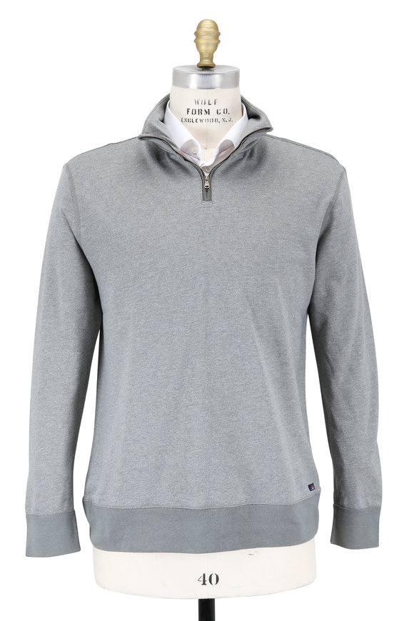 Faherty Brand Gray French Terry Quarter-Zip Pullover