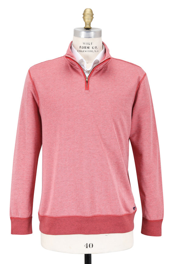 Faherty Brand Red French Terry Quarter-Zip Pullover
