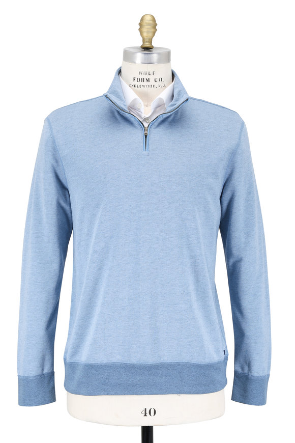 Faherty Brand Blue French Terry Quarter-Zip Pullover