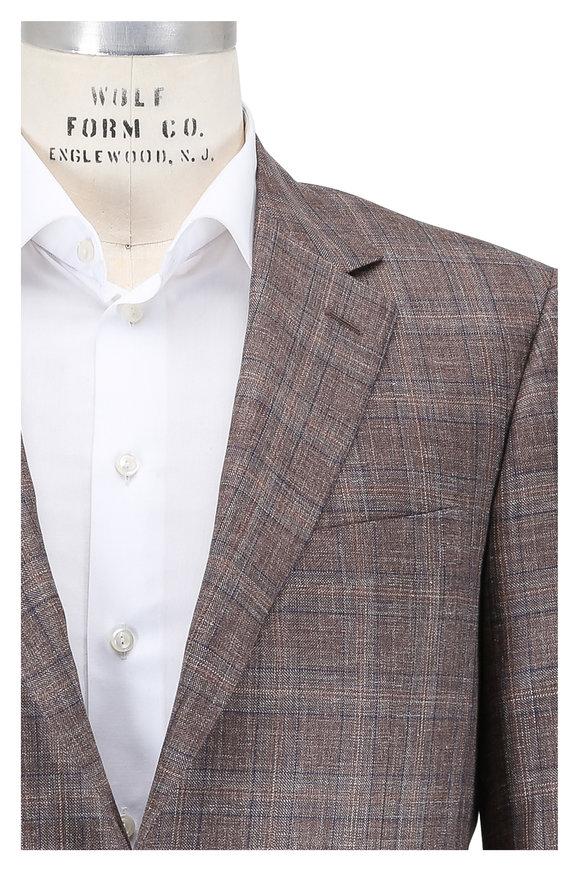 Canali Brown Plaid Wool, Silk & Linen Sportcoat