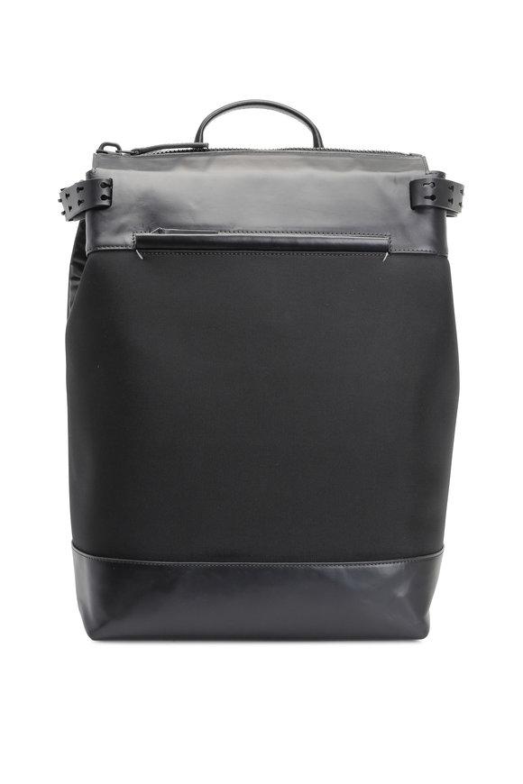 Troubadour Black Nylon & Leather Rucksack