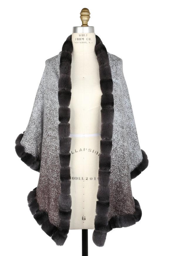 Viktoria Stass Charcoal Gray Shearling & Fur Shawl