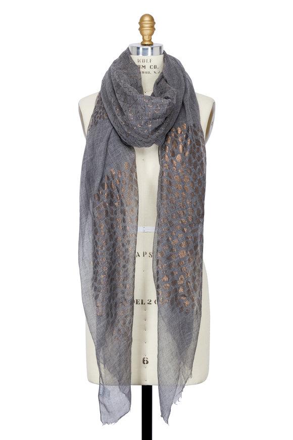 Brunello Cucinelli Charcoal Grey & Floral Metallic Cashmere Scarf
