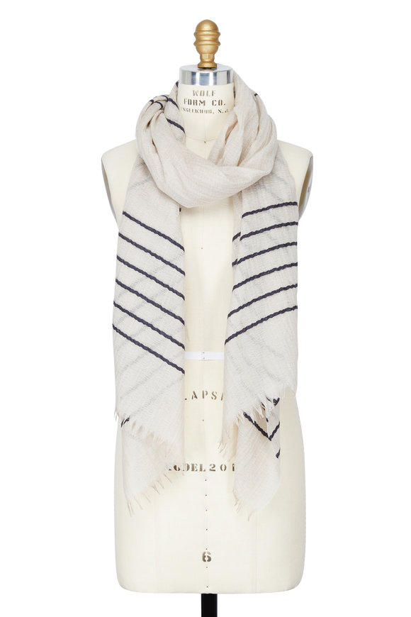 Alex Begg Ivory Striped Cashmere & Silk Scarf