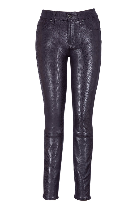 7 For All Mankind Dark Night Metal Snake Skinny Ankle Pant