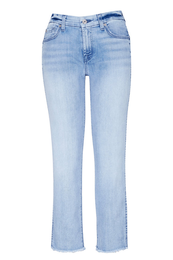 7 For All Mankind High Waist Ankle Straight Raw Hem Jean