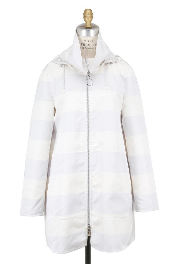 Akris Punto Sail & Cream Striped Reversible Coat