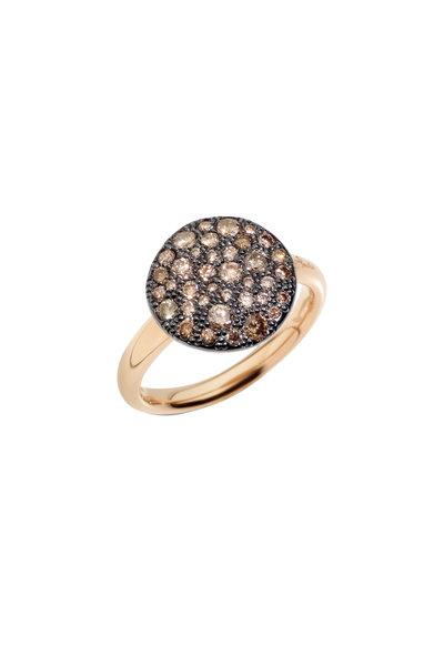 Pomellato -  Sabbia 18K Rose Gold Brown Diamond Disc Ring