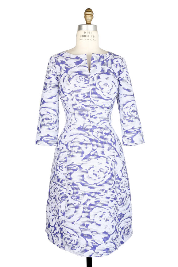 Oscar de la Renta Blue & White Rose Print Dress