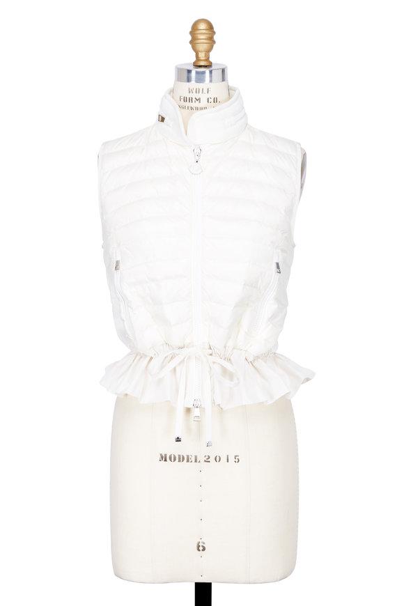 Moncler Maglia White Ruffle Hem Vest