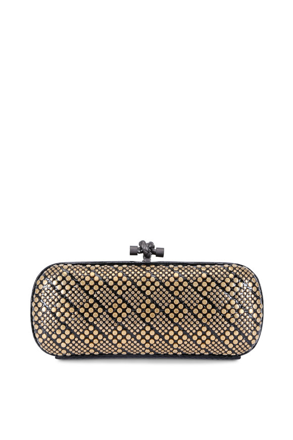 Bottega Veneta Black Ayers Studded Knot Clutch