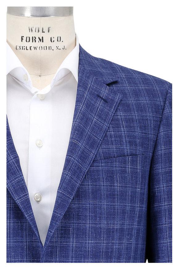 Canali Blue Plaid Wool, Silk & Linen Sportcoat