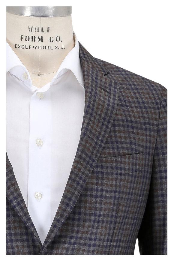 Maurizio Baldassari Gray, Blue & Brown Check Wool Sportcoat