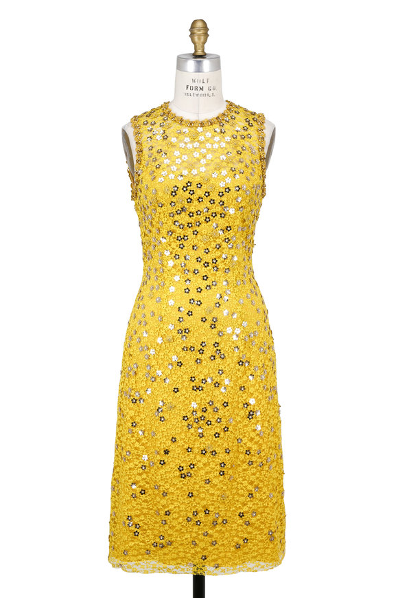 Jenny Packham Dandelion Floral Beaded Sleeveless Cocktail Dress