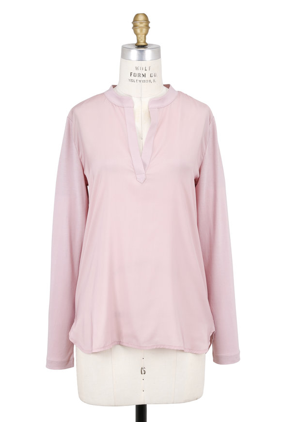 Bogner Anina Light Pink Mixed Media Blouse