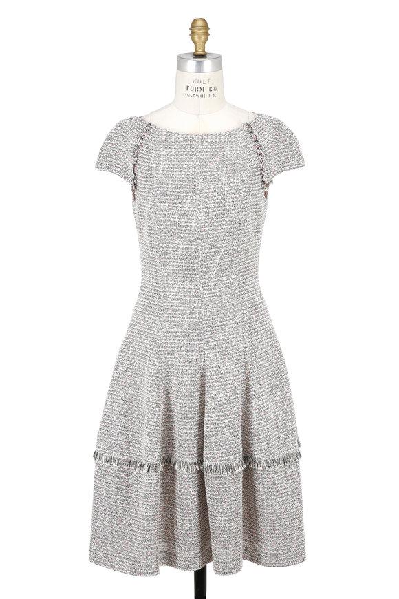 Talbot Runhof Beige & Pink Tweed Cap Sleeve Dress