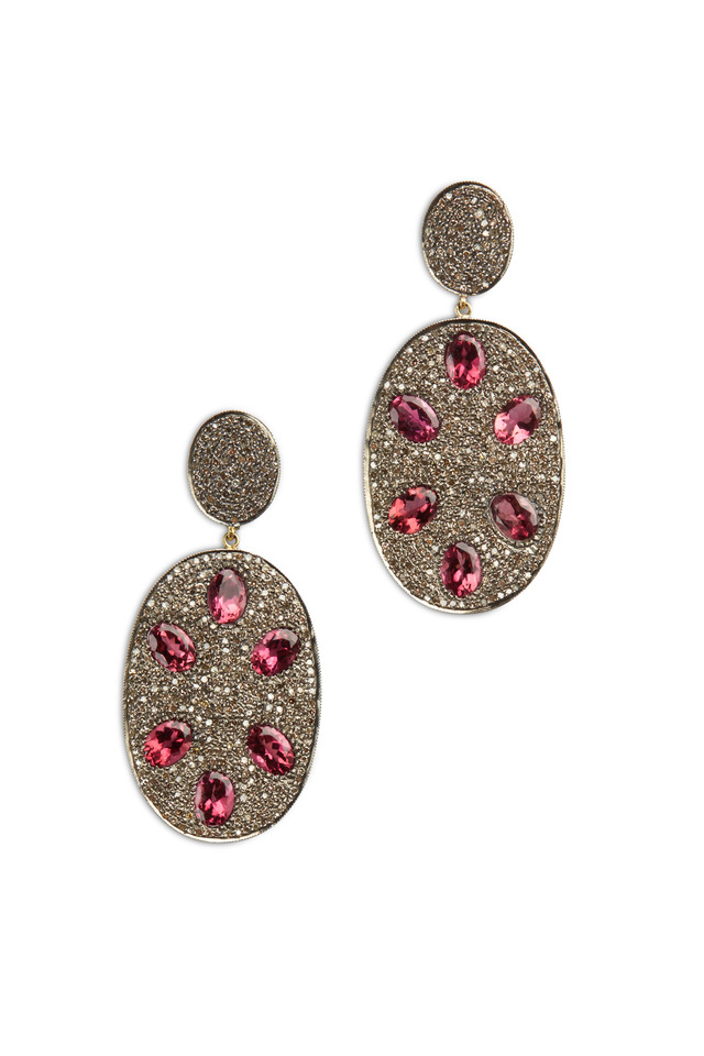 Gold Pink Tourmaline Pavé Diamonds Earrings
