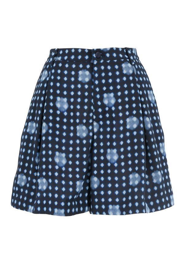 Armani Collezioni Navy Printed Pleated Shorts