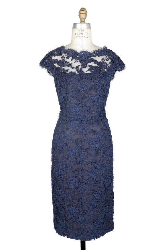 Reem Acra Navy Blue Lace Cap Sleeve Dress