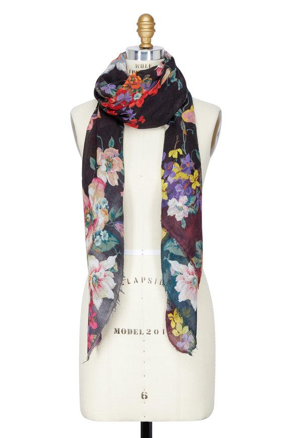 Faliero Sarti Black Floral Wool & Silk Scarf
