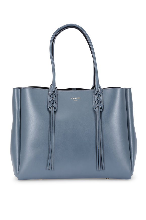 Lanvin Storm Blue Leather Fringed Shopper Tote