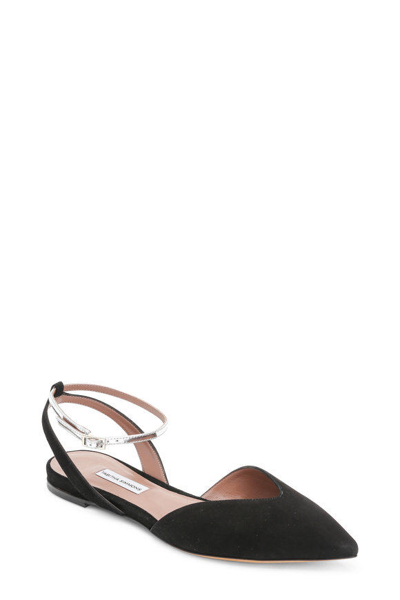 Tabitha Simmons Black Suede Ankle Wrap Pointed Flat