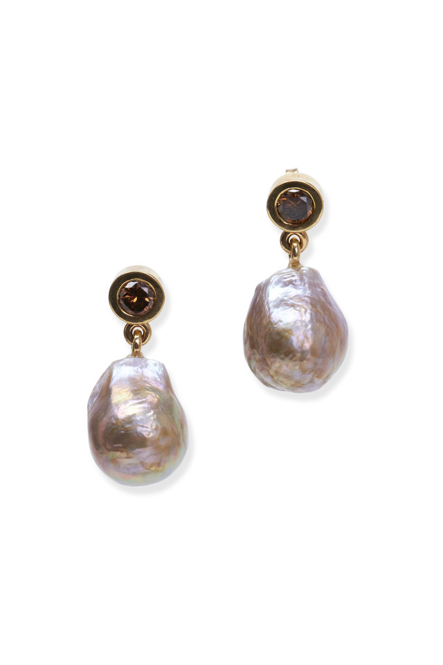 Bronze Freshwater Pearl & Cognac Diamond Earrings