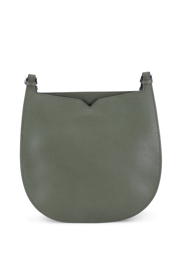 Valextra Weekend Army Green Convertible Hobo Bag