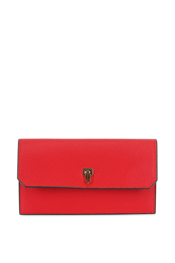 Valextra Red Saffiano Wallet With Credit Card Holder