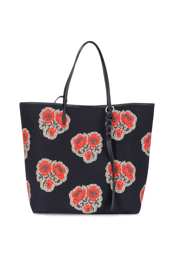 Alexander McQueen Black Canvas Poppy Print Large Tote