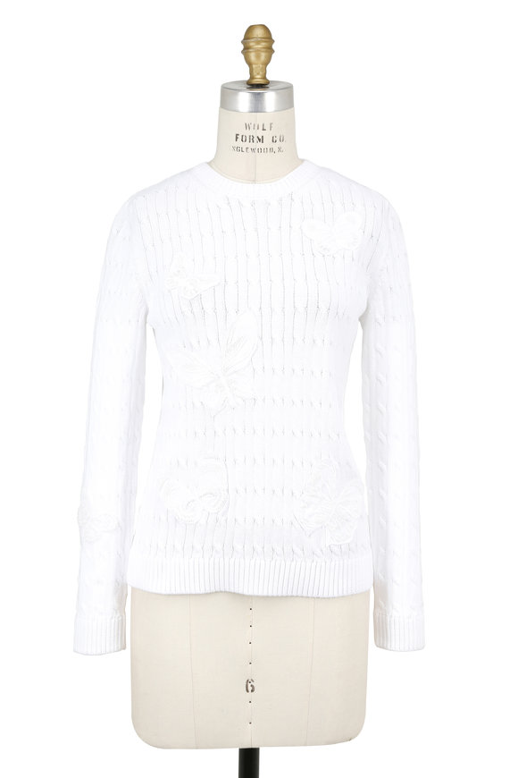Valentino White Cable Knit Butterfly Embroidered Sweater
