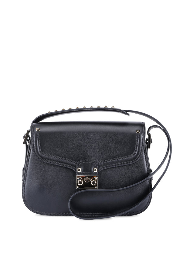 Valentino Cabana Black Leather Medium Saddle Bag