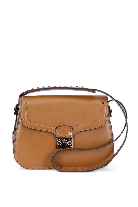 Valentino Cabana Tan Leather Medium Saddle Bag