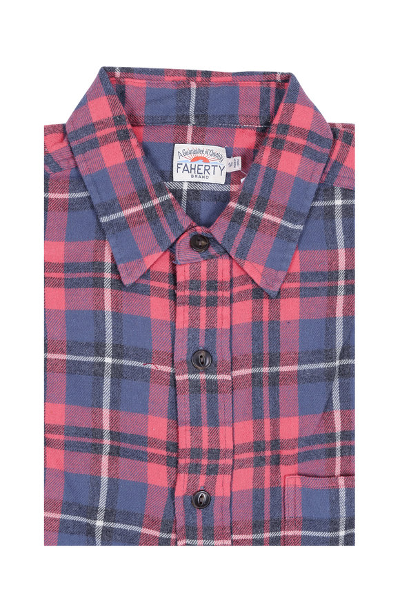 Faherty Brand Red & Charcoal Gray Plaid Sport Shirt